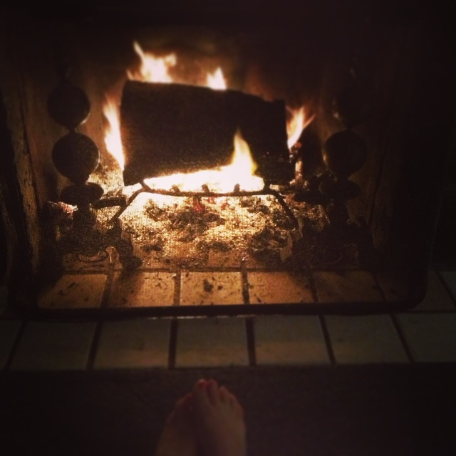 Nothing cozier than a real-wood fire when it's stormy at the beach
