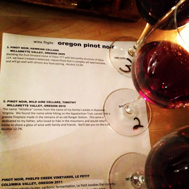 Pinot Flight at Yummy Wine Bar