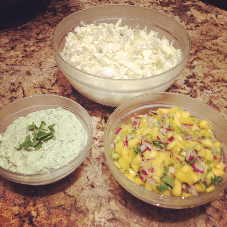 Mahi mahi fish tacos with mango salsa and avocado lime for Salsa for fish tacos