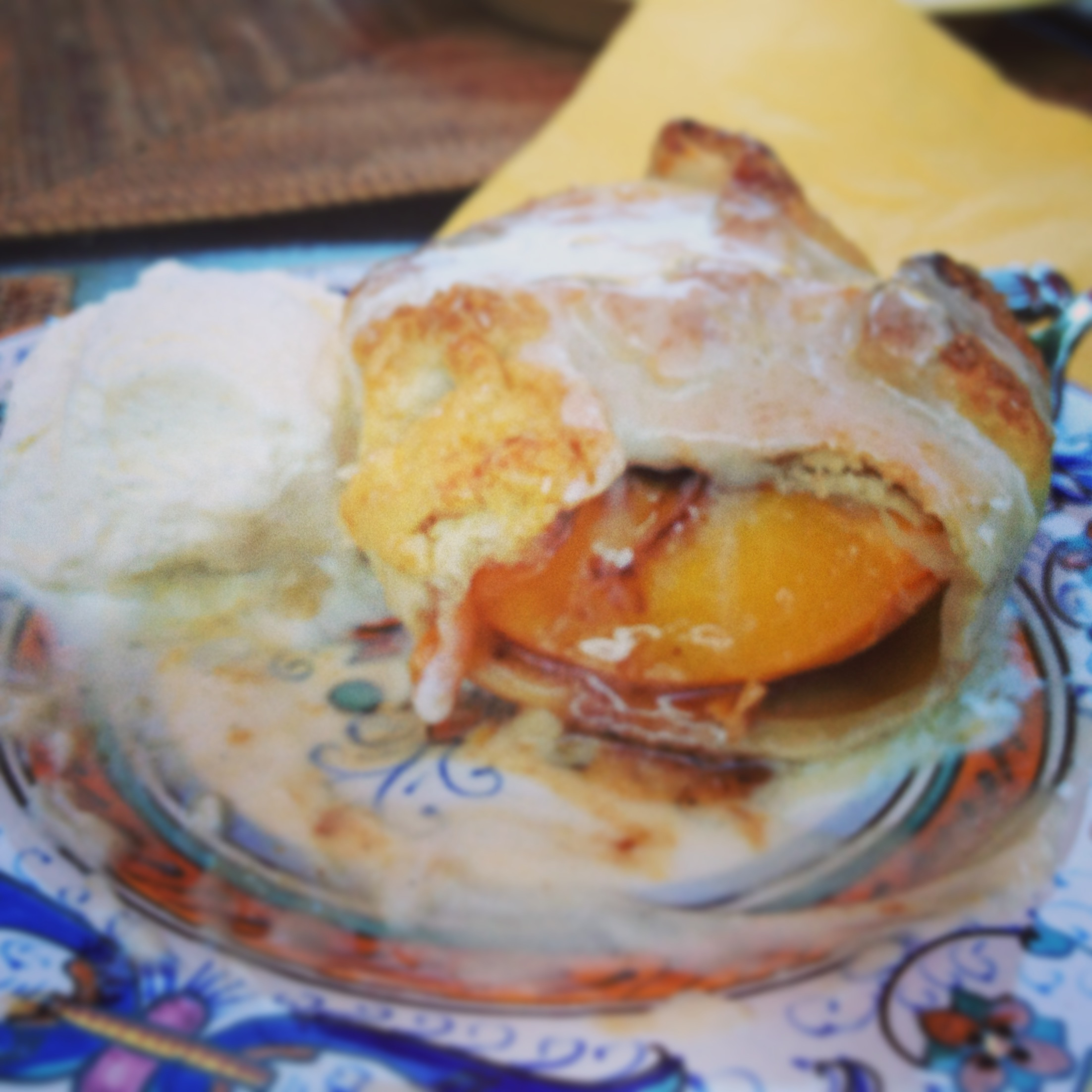 ... Peach Dumplings with Bourbon Hard Sauce | Blueberries & Basil